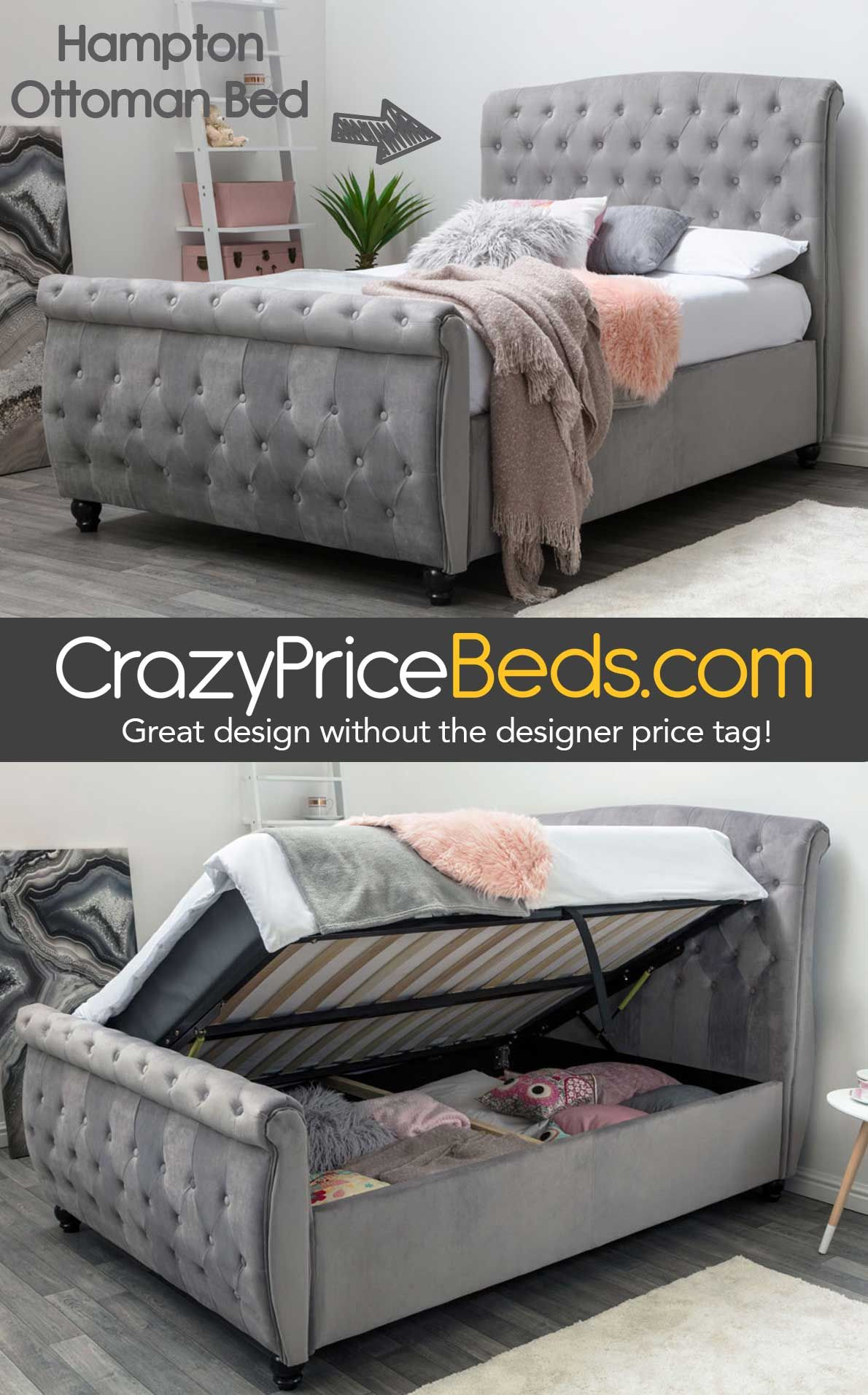7881762d804 Hampton Grey Velvet Upholstered Side Lift Ottoman Bed from only £449.99  FREE Delivery to UK Mainland from crazypricebeds.com
