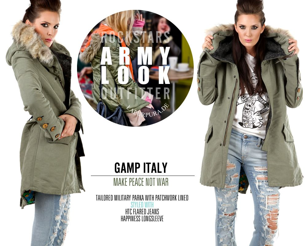 Bohemian Army-Parka mit Patchwork-Innenfutter * GAMP, Italy #bohemian #gamp #patchwork #crochet #grannysquare #ArmyParka #Parka