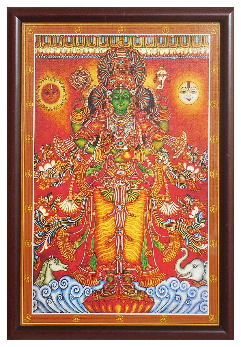 Framed Lord Vishnu Mural Picture Tanjore Painting Kerala Mural Painting Mural Painting