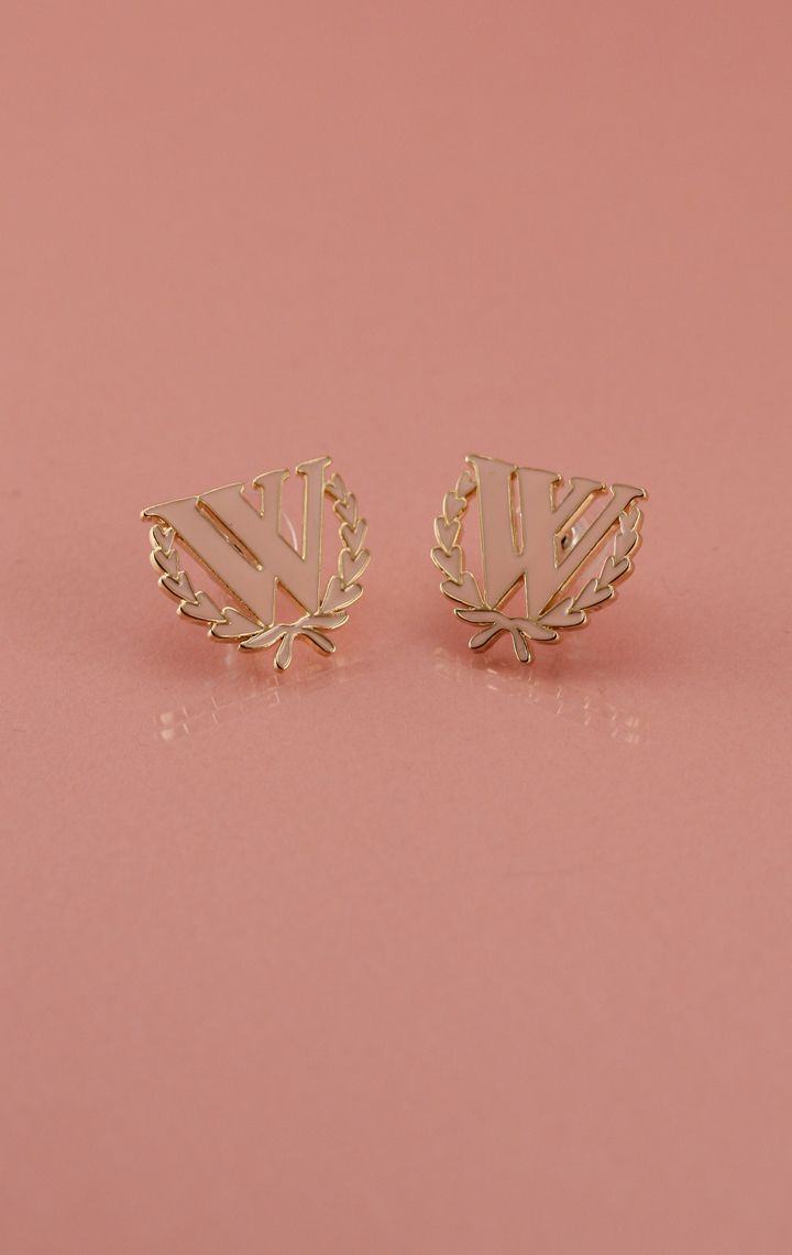 10K GOLD LARGE PINK ENAMEL LOGO STUDS at Wildfox Couture in GLDP