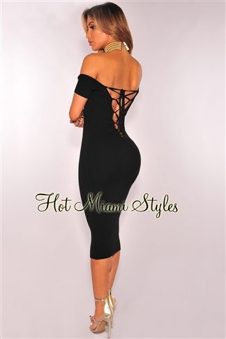 e71364d7cef Black Ribbed Knit Lace Up Back Off Shoulder Dress Womens clothing clothes  hot miami styles hotmiamistyles hotmiamistyles.com sexy club wear evening  clubwear ...