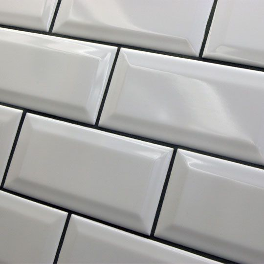 15x7 5cm Millenium A Mini Version Of The Bevel Tile By Johnsons White Gloss