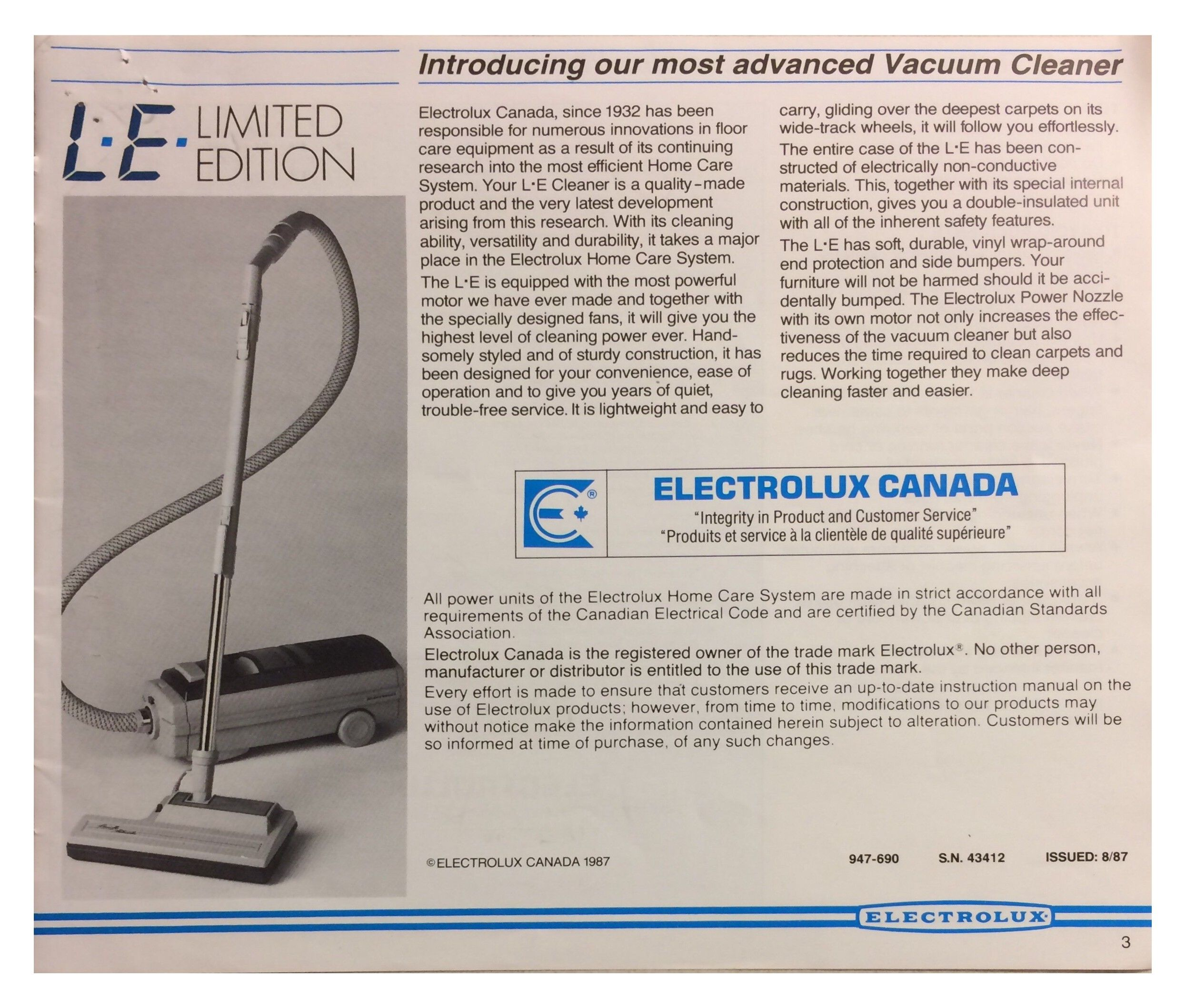 Le Electrolux Limited Edition Vacuum Cleaner Manual Pg 3 Electrolux Electrolux Vacuum Vacuums