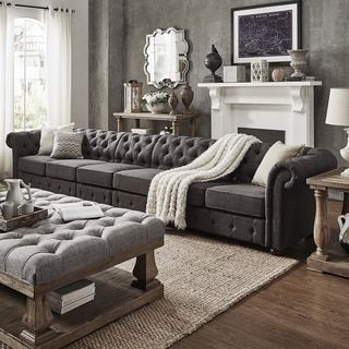 Knightsbridge Dark Grey Linen Oversize Extra Long Tufted