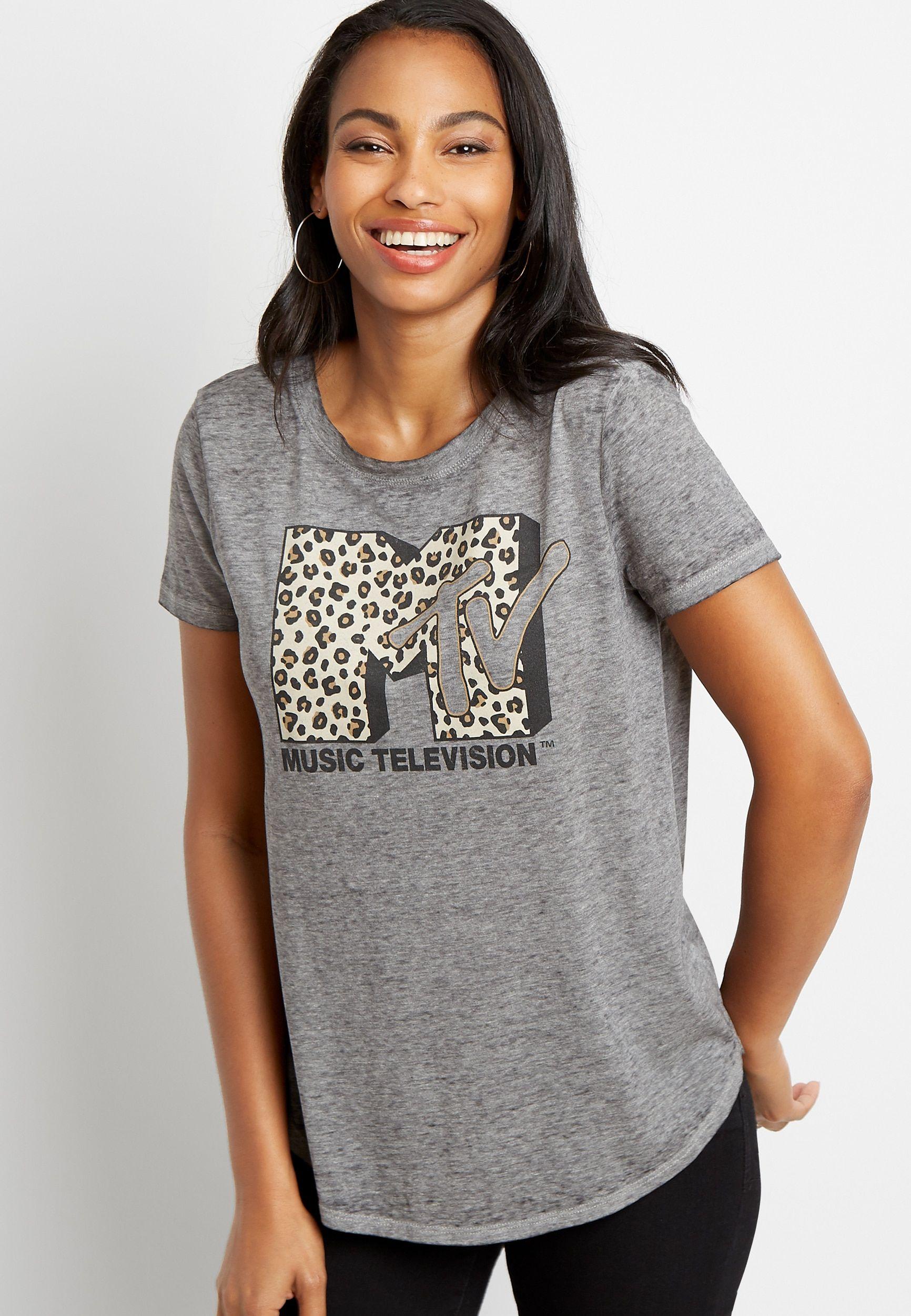MTVs Leopard  Graphic Tee   T-shirt  Top  Band Tee