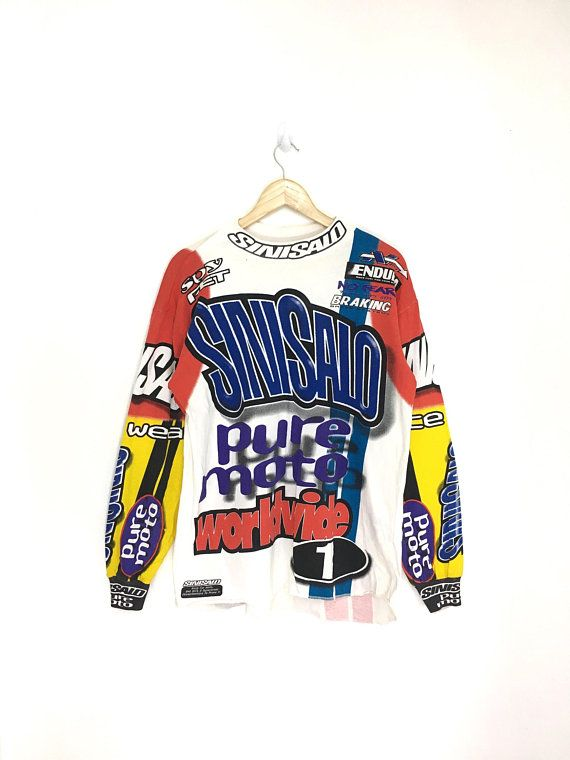 0316fb747 Vintage 90s SINISALO Motocross Jersey   Bmx   mx Fullprint Medium Size on  tag