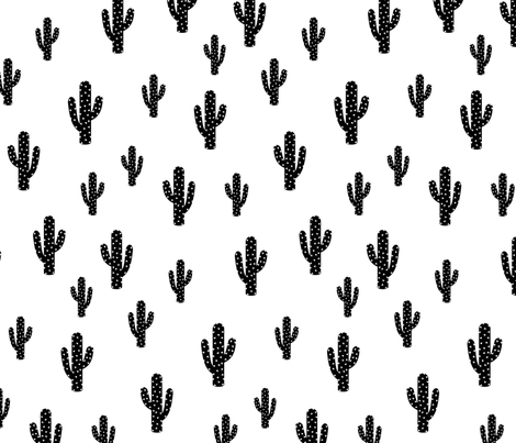 Colorful Fabrics Digitally Printed By Spoonflower Black Cactus White Background Fabric Quilting Designs Patterns And