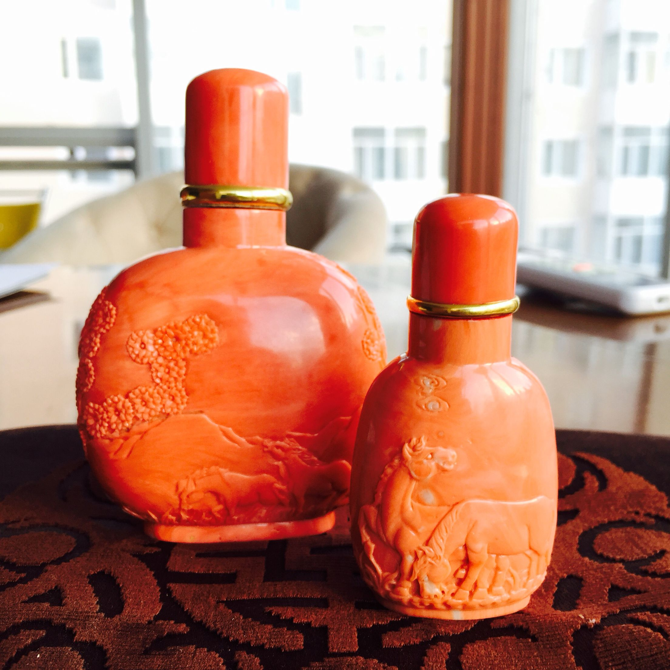 Coral Gemstone Snuff Bottle Coral Sculpture Wine Bottle