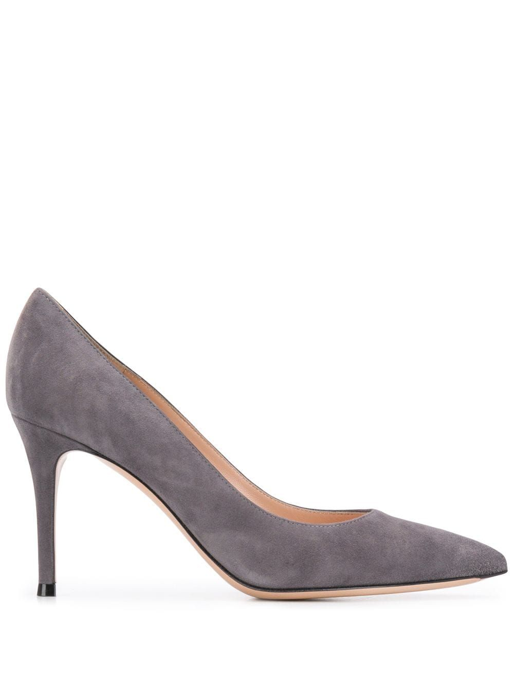 Lapis grey suede pointed toe 90mm pumps from Gianvito Rossi featuring a pointed toe, a slip-on style, a branded insole and a high heel.