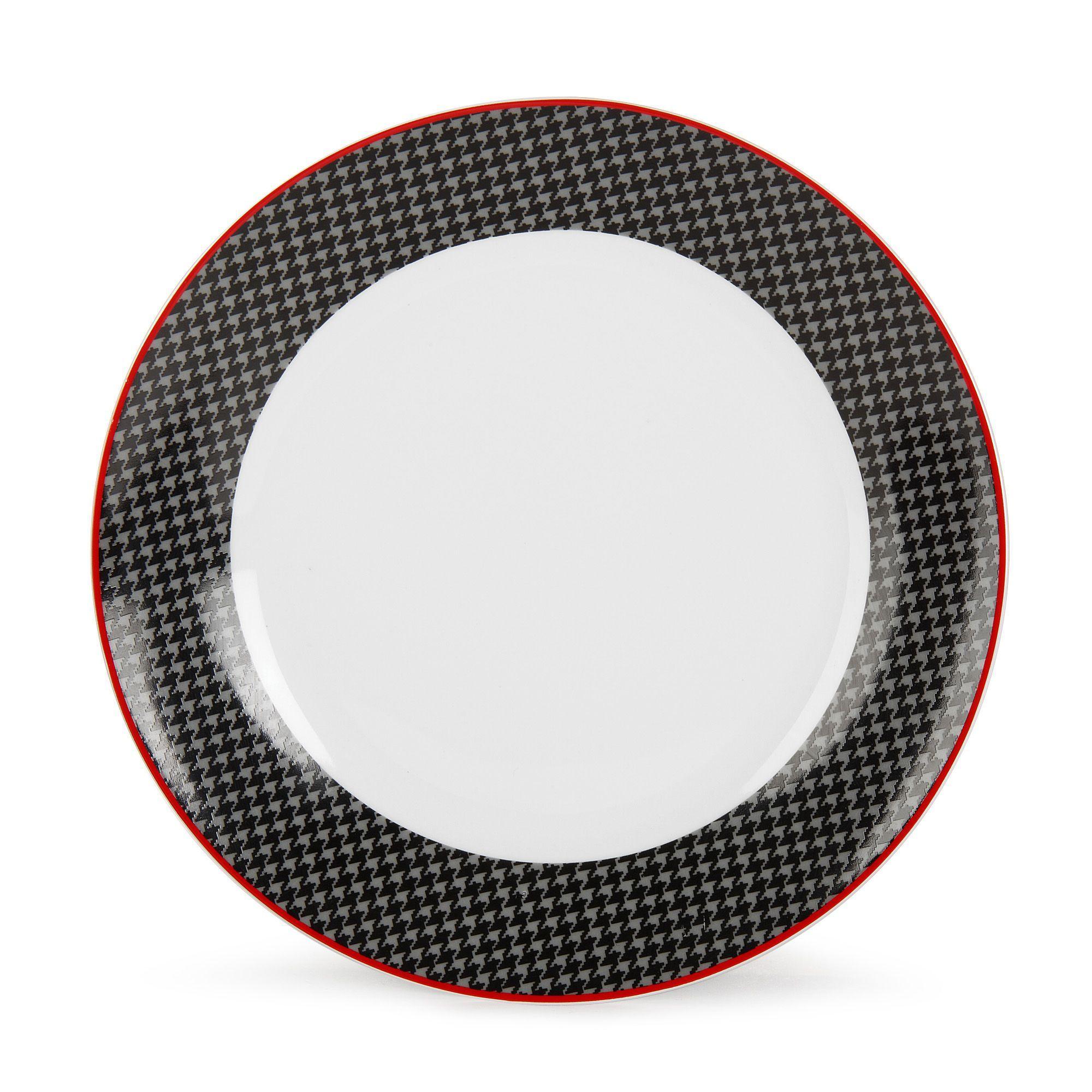 Assiette Plate Motifs Pieds De Poule Filet Rouge Noir Vaisselle  # Rangements Assietes Modernes