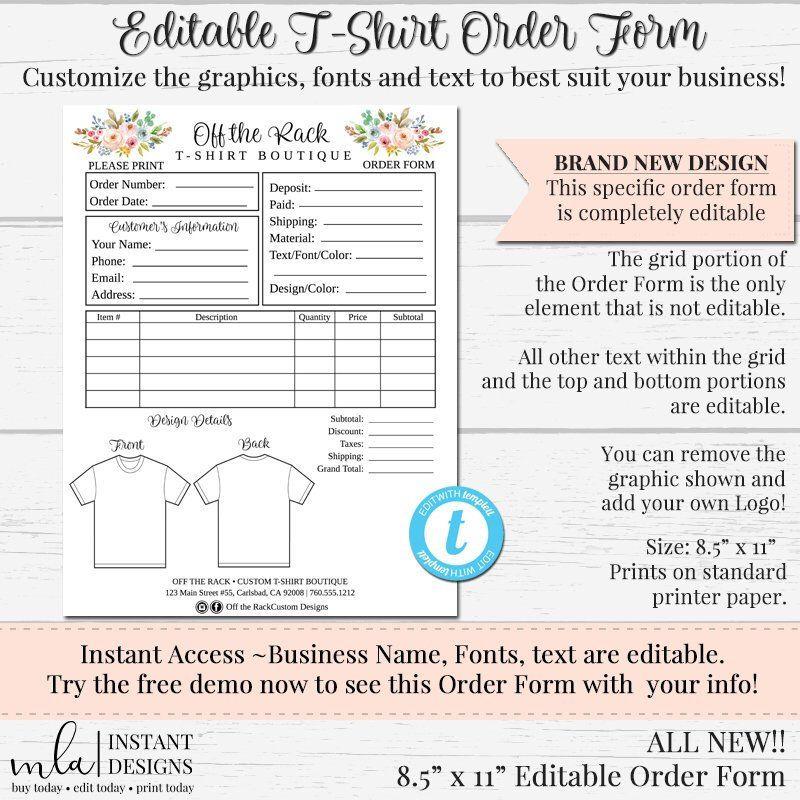 Tshirt Order Form, Editable Order Form, DIY Order Form
