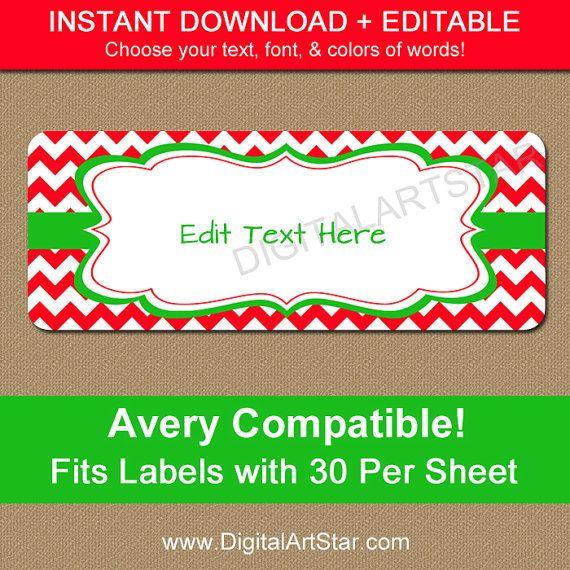 EDITABLE Printable Address Labels, DIY Holiday Return Address Labels