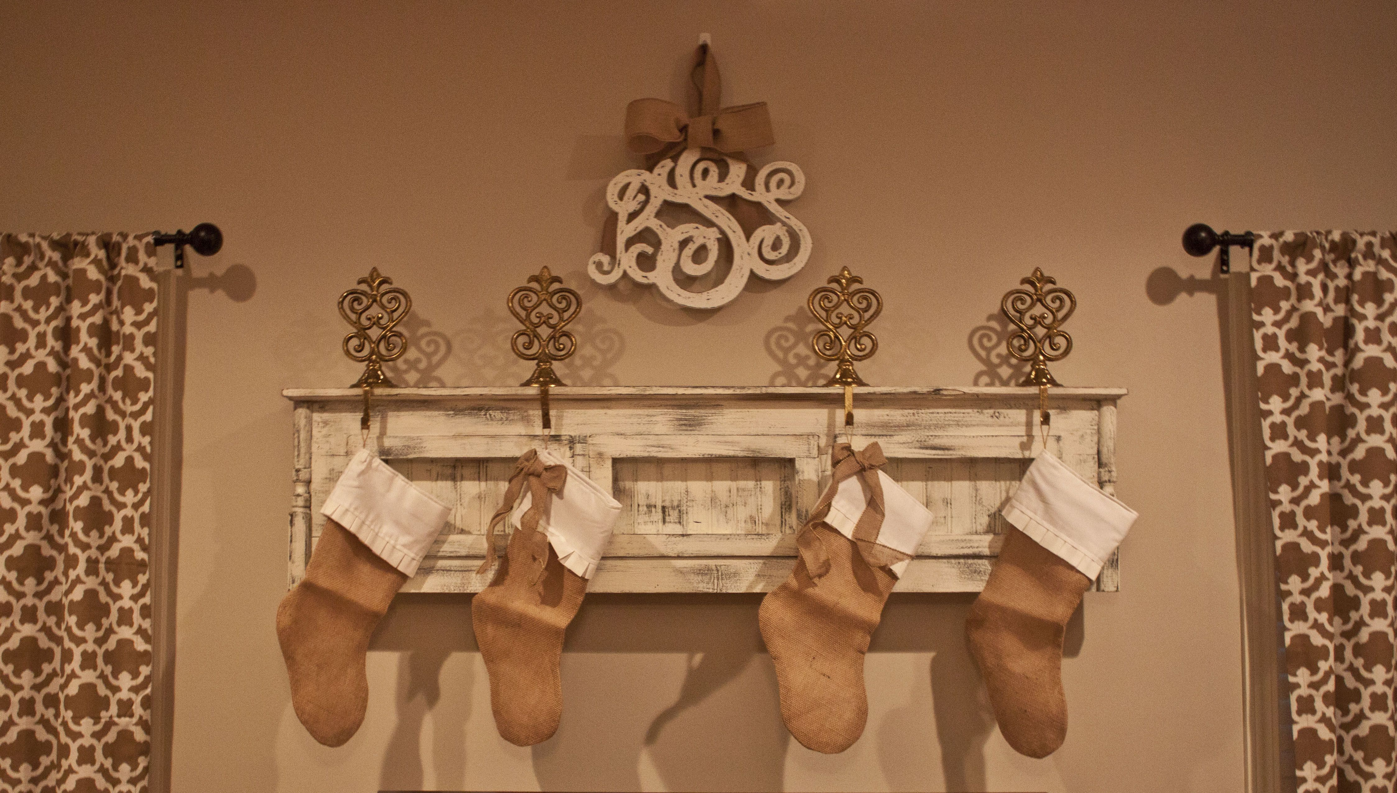 Our Pretty Mantel and Burlap Stockings