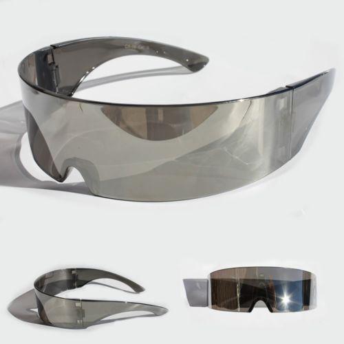 Futuristic  Shield Glasses Cosplay Mirrored Lens Visor Wrap Sunglass
