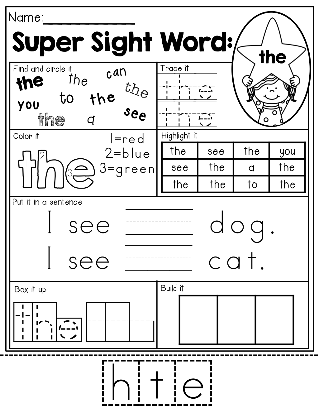 worksheet Pre Primer Sight Word Worksheets sight word super stars no prep pre primer edition activities edition
