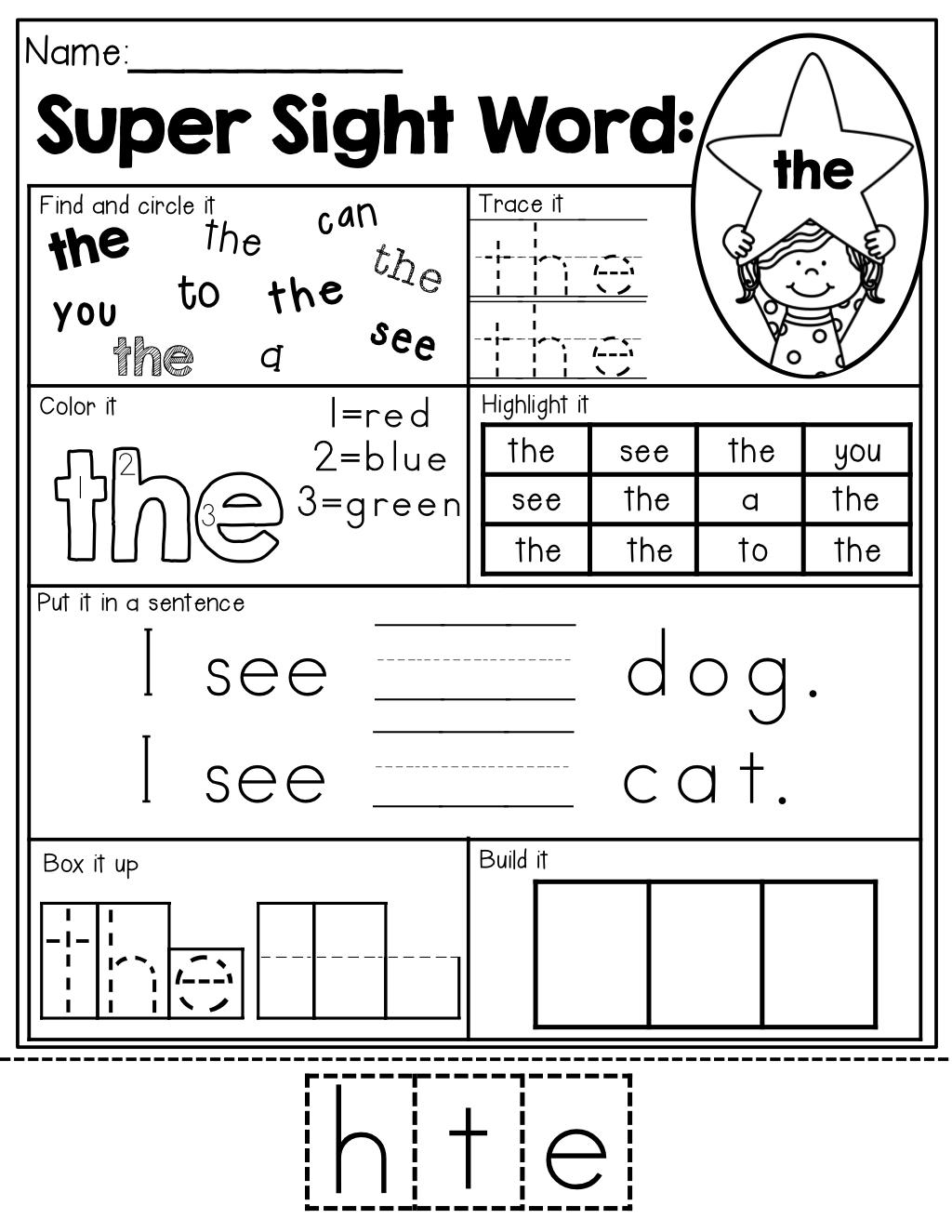 Worksheet Pre Primer Sight Word Worksheets Worksheet Fun