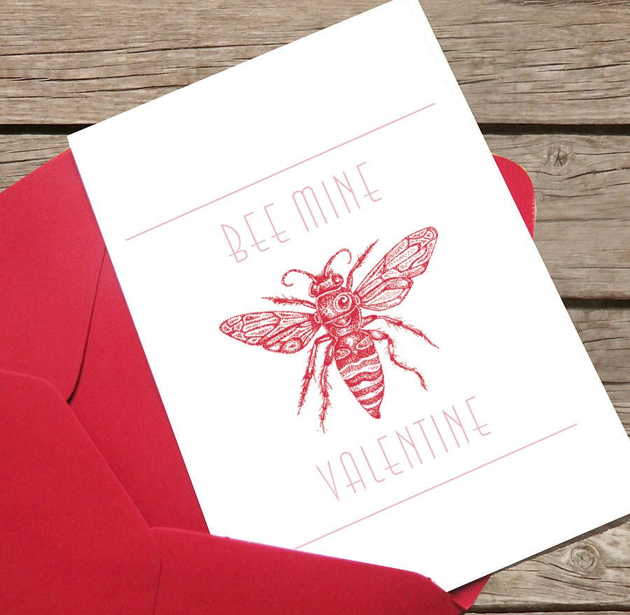 Valentines Day Card Bee Mine Bee Handmade Love Valentine Bee