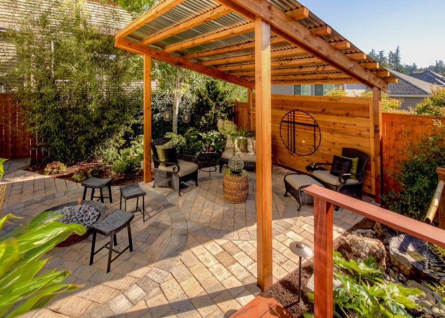 Awesome Roof Design With Corrugated Metal Roofing Traditional Patio With Wood Pergola And Corrugated Metal Roofing Rustic Pergola Patio Gazebo Backyard Patio