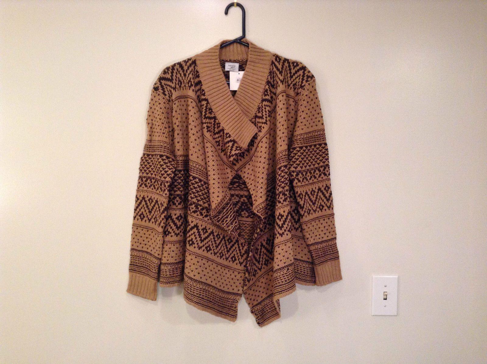 Brown Norwegian Style Long Sleeve Cardigan Sweater Wrap In Package ...