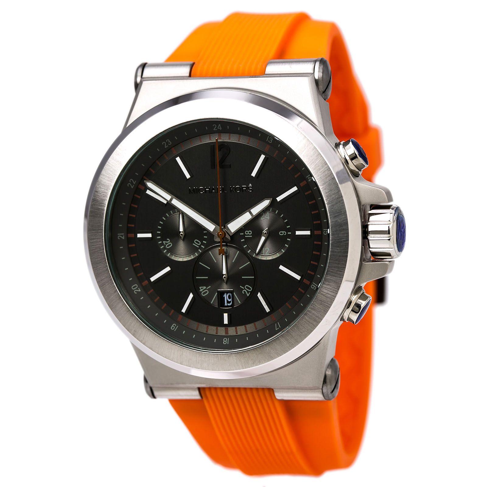 ef3e4c28e83 Michael Kors MK8296 Men s Dylan Black Dial Black IP Steel Orange Silicone  Strap Chronograph Watch