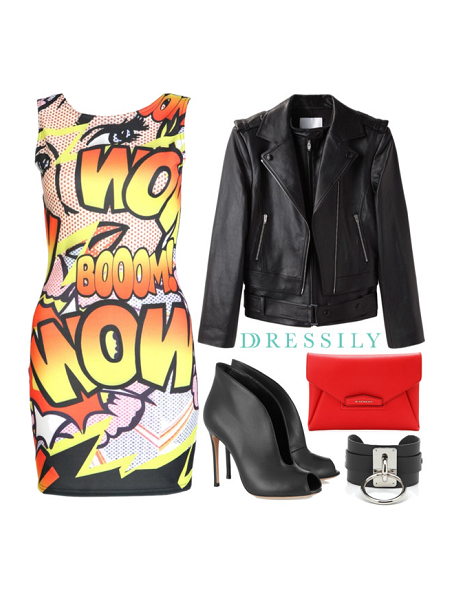 Print dresses are amazing statement pieces. Tone this look down a notch and add edge with a black leather jacket and a pair of ankle boots. Now you're ready to rock out! dressil.ly #edgy #streetstyle #ootd  #palazzo
