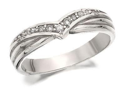 9ct White Gold Diamond Set Wishbone Brides Wedding Ring