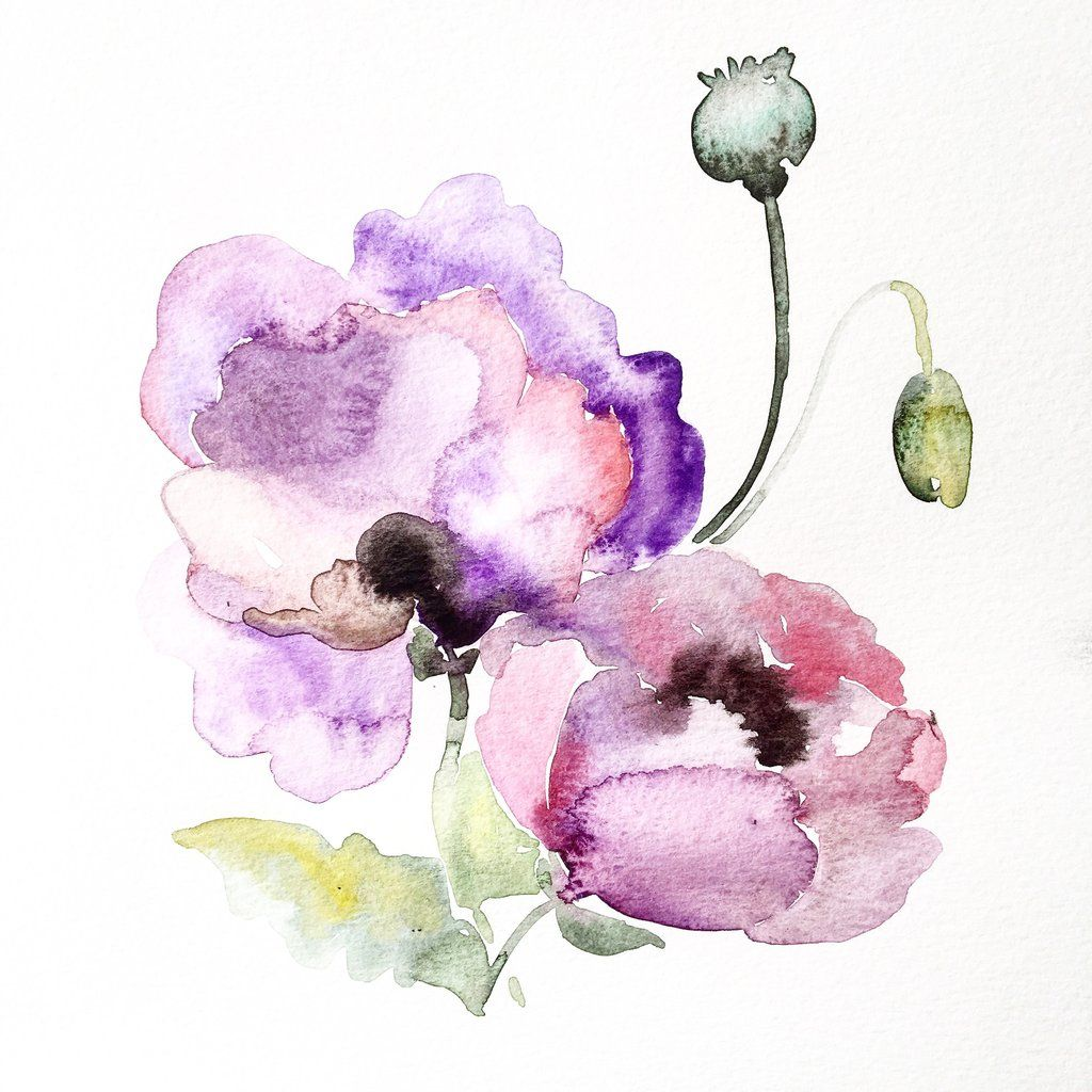 Purple Flower Watercolor Flower Art Painting Watercolor Flowers