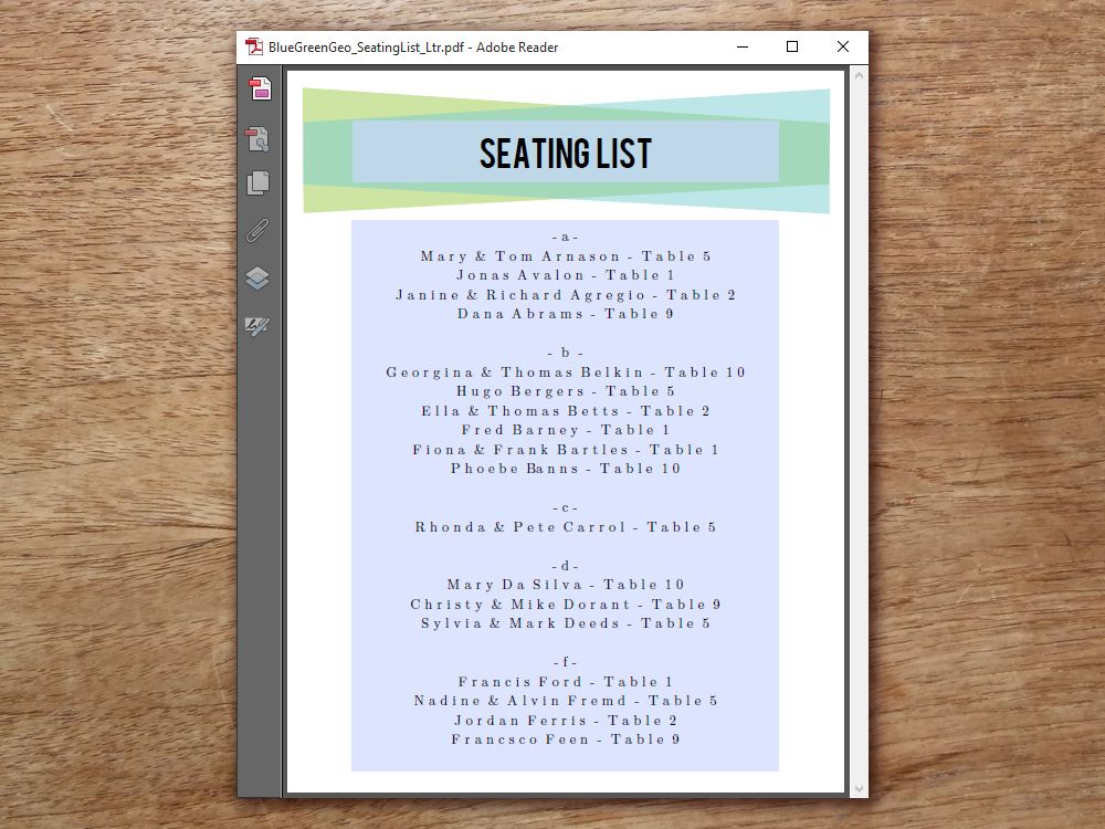Printable Wedding Seating Sign - Blue Green Geometric Geometric - office seating plan template