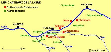 Châteaux de la Loire - carte | France, Diagram