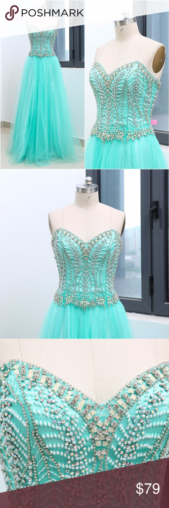 Strapless crystals mint tulle long prom dress long prom dresses