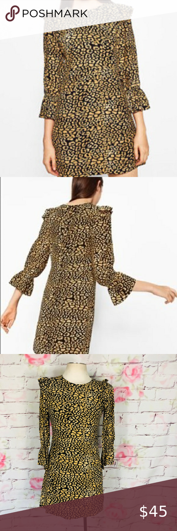 Zara Long Sleeve Ruffle Leopard Cheetah Print Dres Clothes Design Fashion Print Clothes [ 1740 x 580 Pixel ]