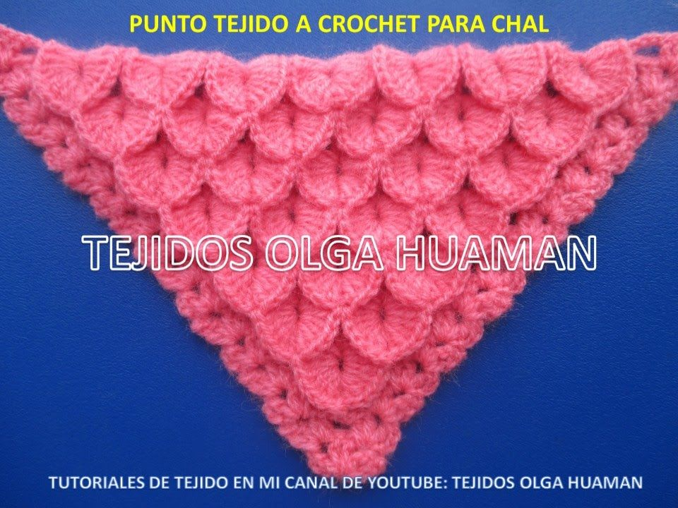 chal triangular tejido a crochet en punto cocodrilo o escamas ...