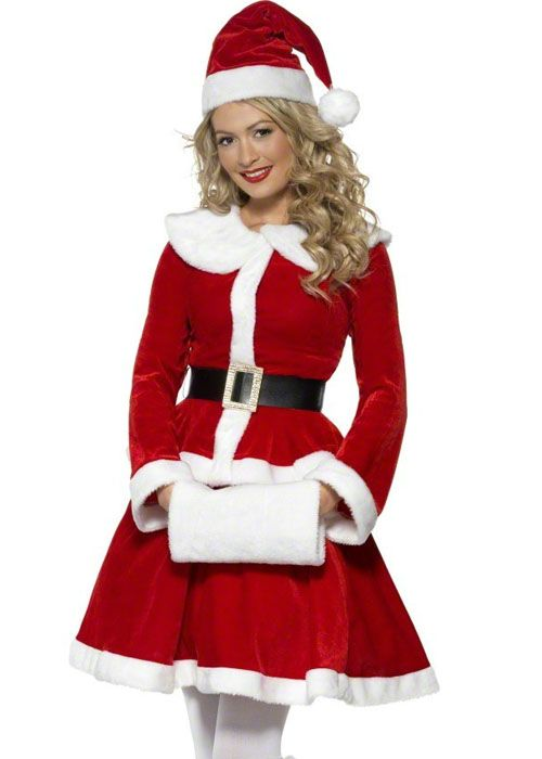 Ladies Little Miss Santa Clause Fancy Dress Christmas Dress Up Festive Costume