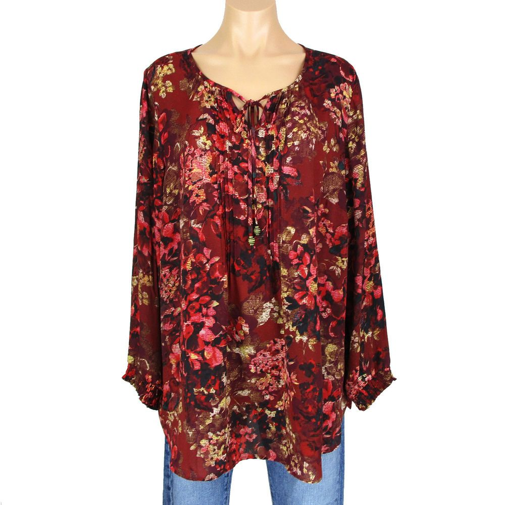 New Womens Top Plus Size Ladies Floral Print Gypsy Shirt Elastic Tunic Nouvelle
