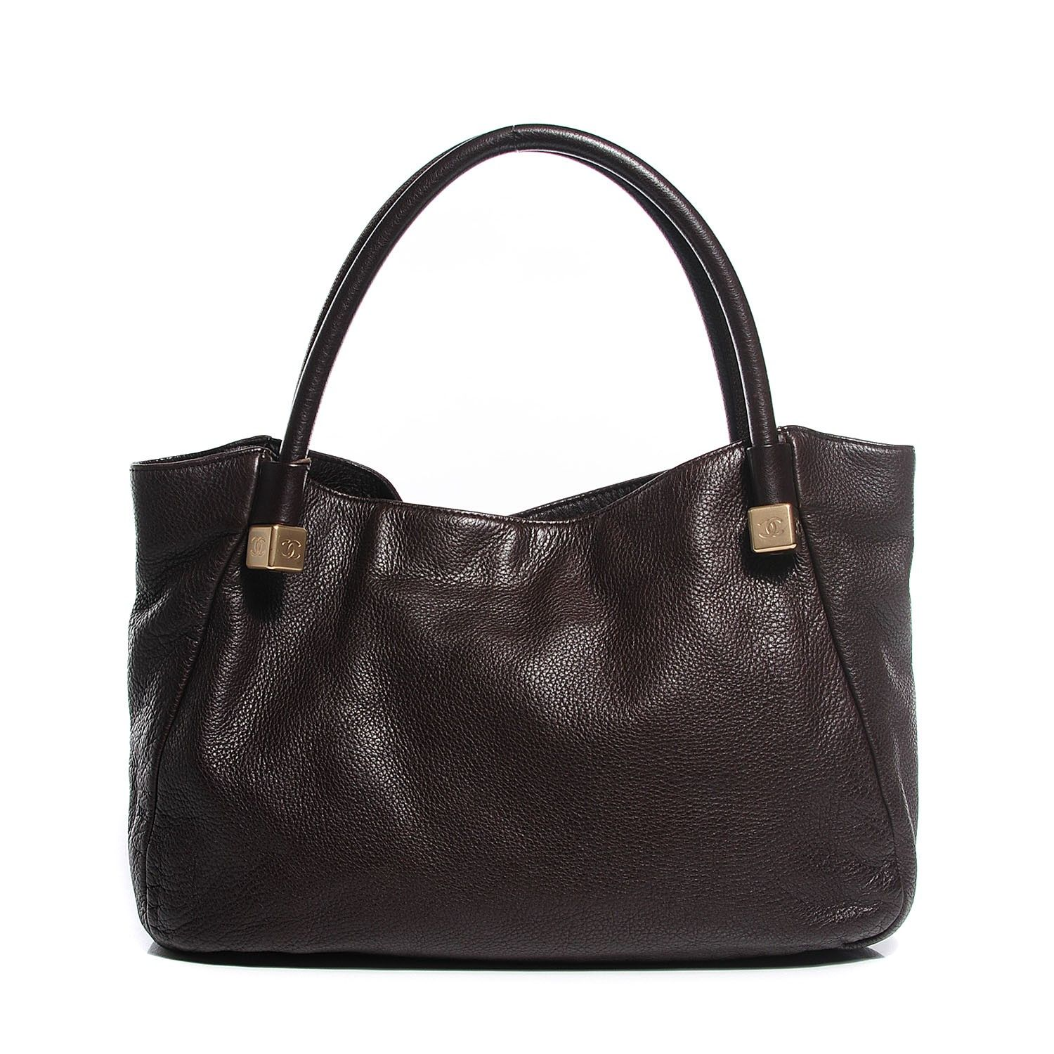 edf9e2e55938 This is an authentic CHANEL Deerskin Shoulder Bag in Brown. This stylish  tote is crafted