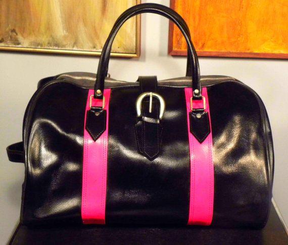 Vintage Retro Black and Red Duffel Bag by VintageIndustriesInc