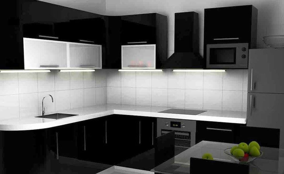 Kitchen Design Black And White Color Beautiful House Interior