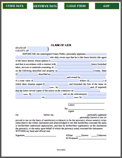 Claim Of Lien Certificate  Forms    Certificate And