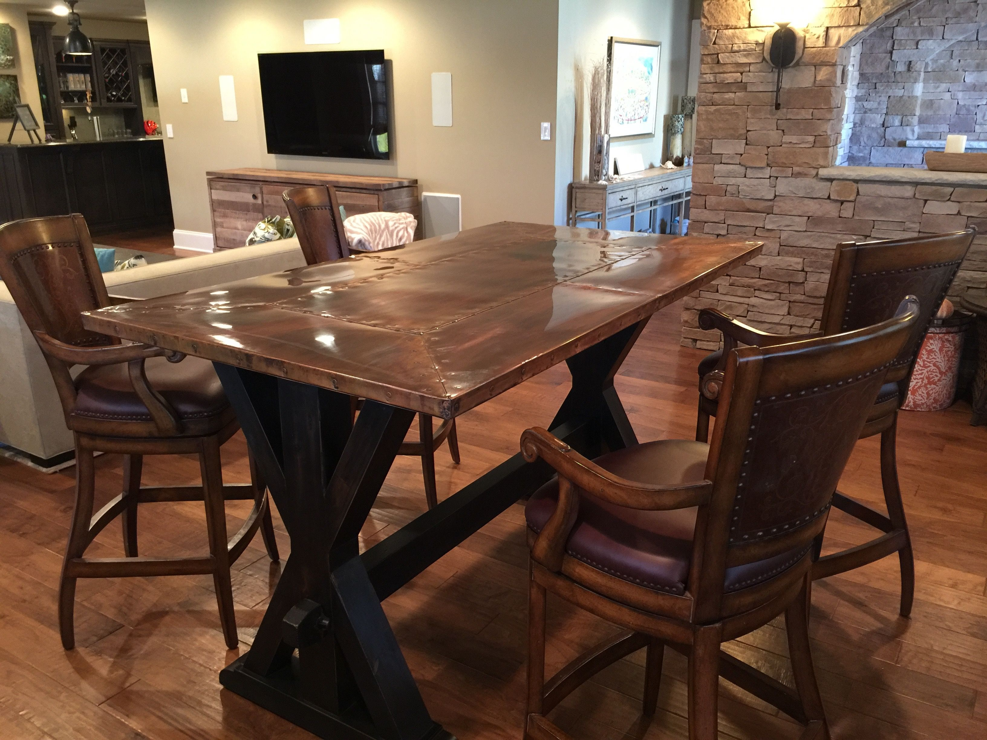 Copper top trestle base bar height table with images