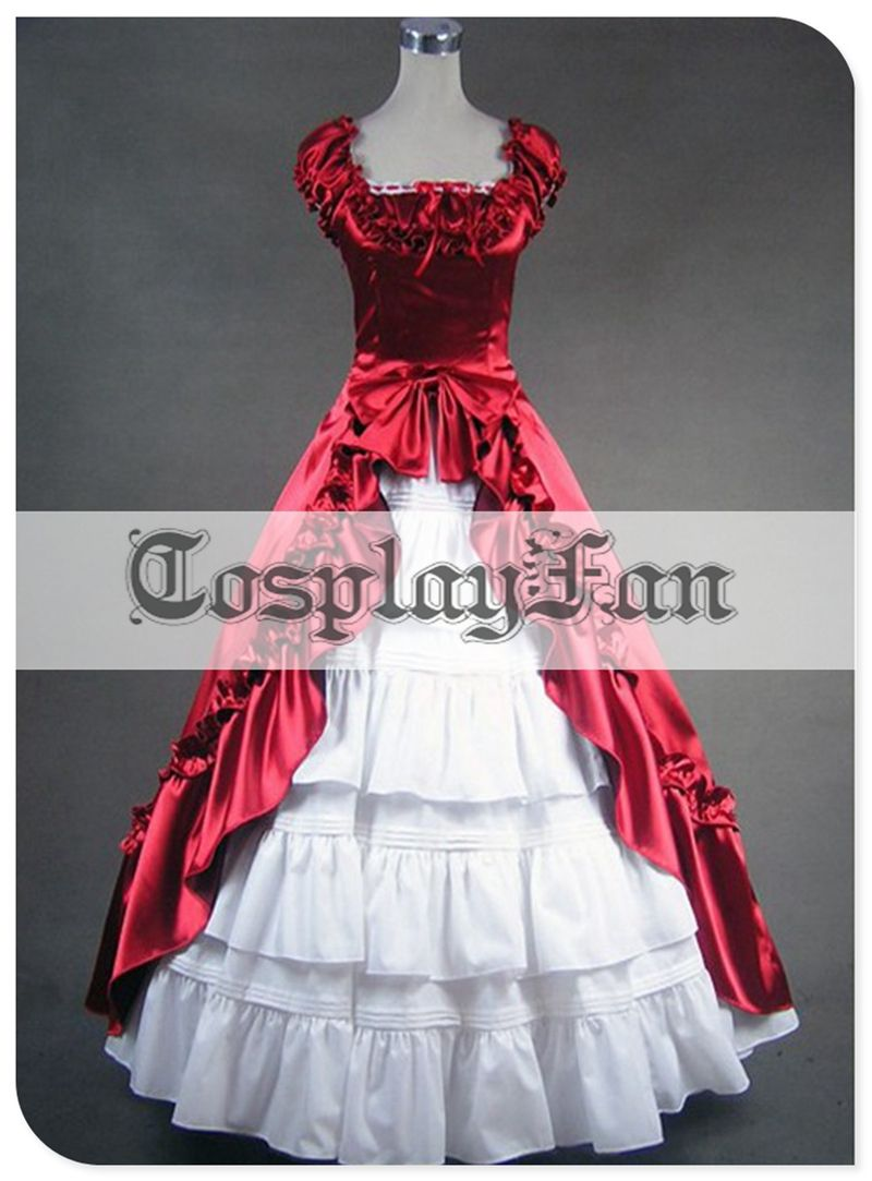 Cheap red and white wedding dresses   Free Shipping Attractive Red and White Gothic Victorian Ball