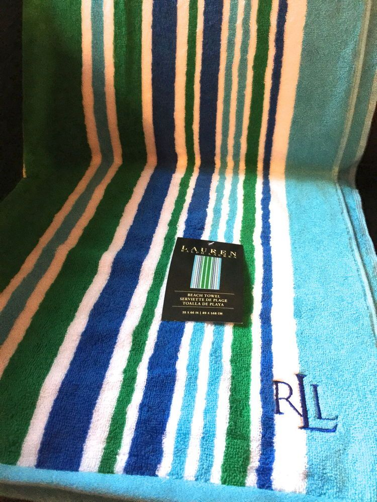 New Ralph Lauren Beach Towel Stripes Turquoise Green Blue 35x66