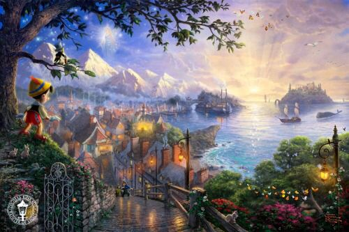 Pinocchio. Disney is too great. Love this artwork by Thomas Kinkade.