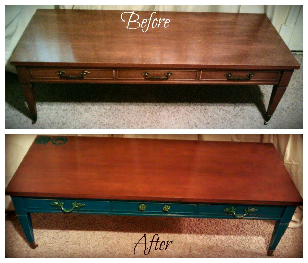 Dark Stained Top Coffee Table Teal Bottom Agape