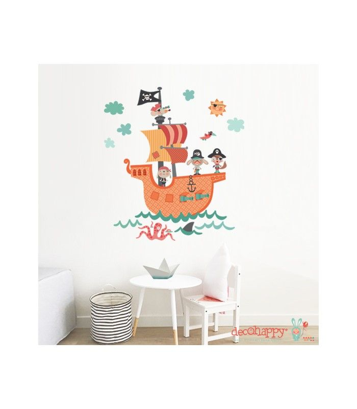 Vinilo infantil de tela barco pirata ohh muy divertido for Vinilos infantiles para ninos
