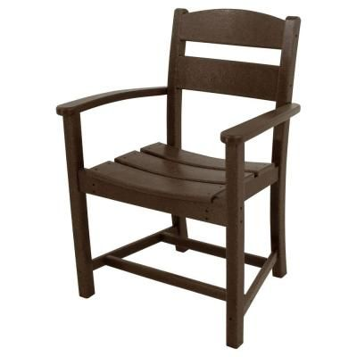 Ivy Terrace Classics Mahogany All-Weather Plastic Outdoor Dining Arm Chair