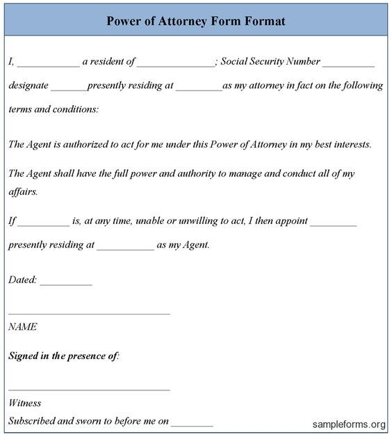 Poa Letter Printable Sample Power Of Attorney Template Form Power Of