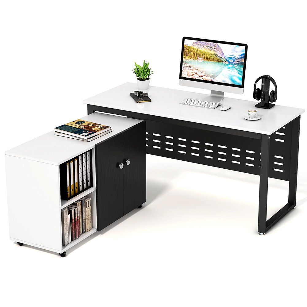 word 39office desks workstations39and. Computer Desk And File Cabinet, Tribesigns Large Office Study Writing Workstation With Mobile Printer Stand, White+Black, Word 39office Desks Workstations39and Pinterest
