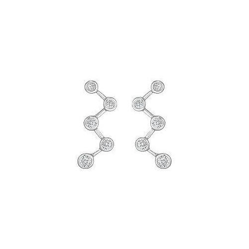 Diamond Journey Earrings : 14K White Gold - 1.00 CT Diamonds