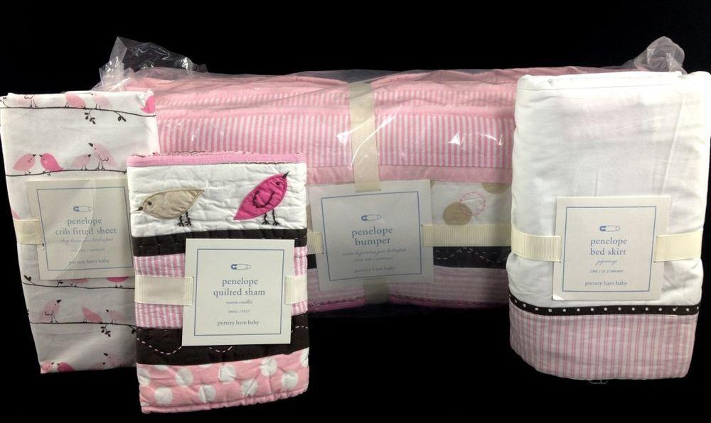 Pottery Barn Kids Penelope Crib Bumper Skirt Sham Sheet New Pink