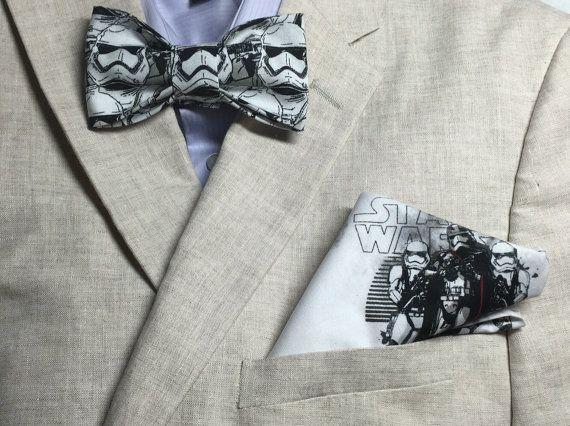 Star Wars Stormtrooper Force Awakens Bow Tie Pocket Square Bowtie Nerd Geek Wedding